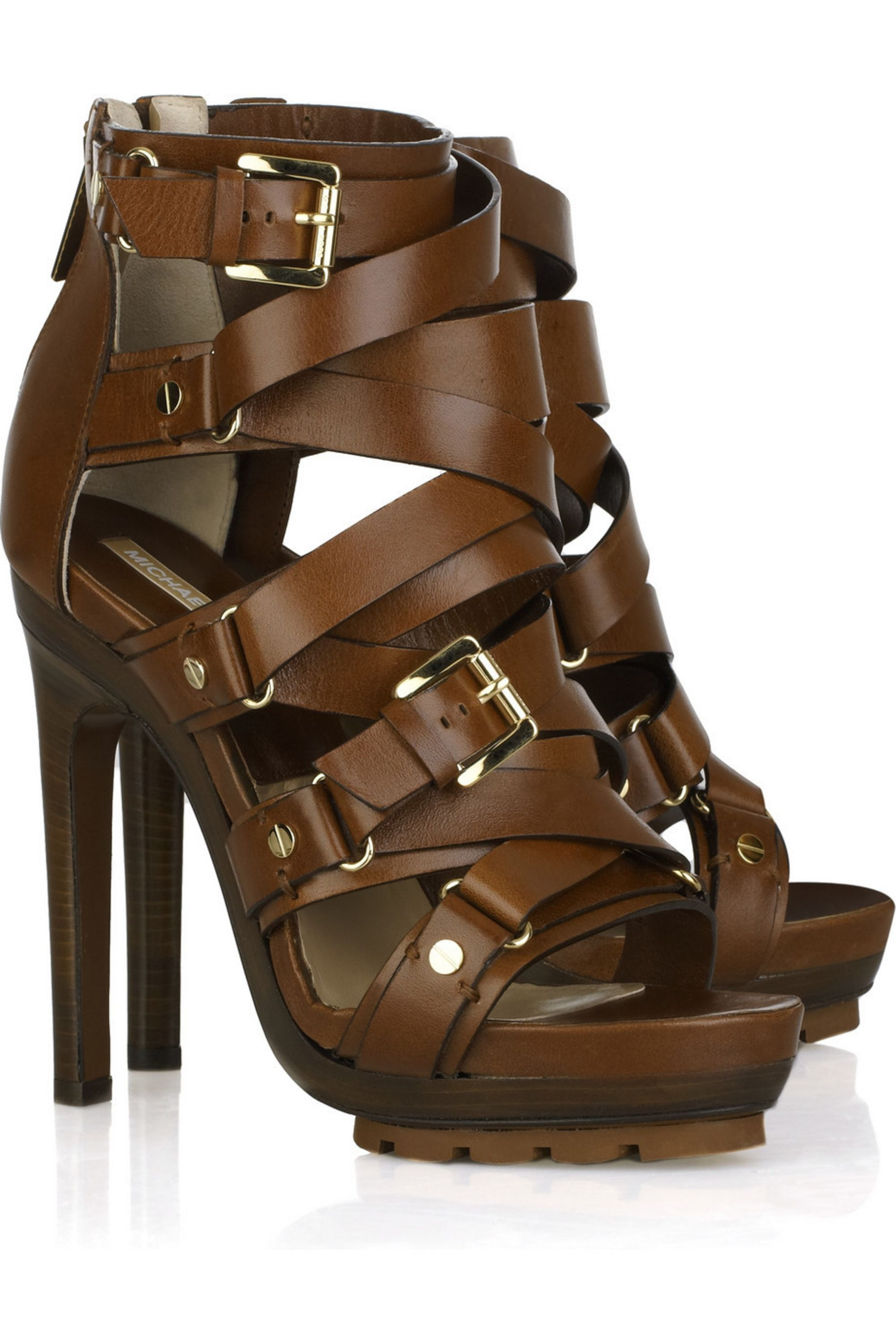 Dark brown Strappy buckled leather