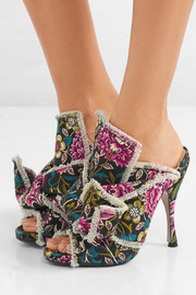 Knotted floral-print canvas mules