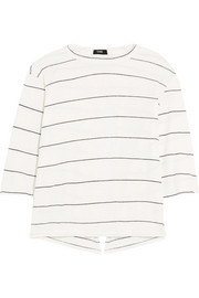 Split-back striped organic cotton-jersey top