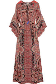 Etro Tassel-trimmed paisley-print silk gown