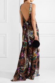 Open-back printed silk-crepe gown