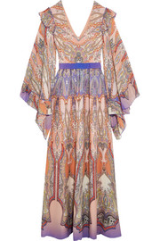 Etro Ruffled printed silk-georgette gown