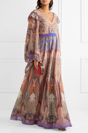 Ruffled printed silk-georgette gown