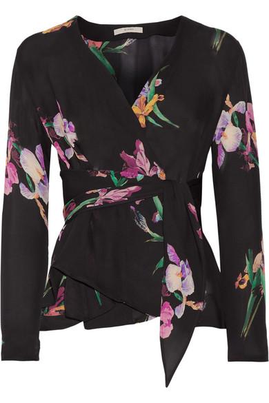 Etro - Floral-print Silk Crepe De Chine Wrap Blouse - Black
