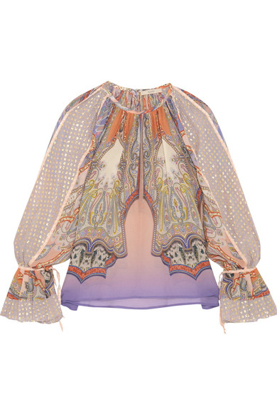 Etro - Printed Silk-chiffon And Fil Coupé Blouse - Pink