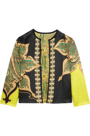 Reversible printed crinkled-satin jacket
