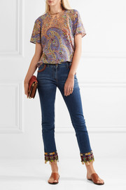 Paisley-print silk top