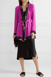 Belted satin-jacquard jacket