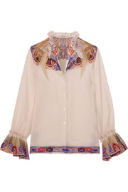 Ruffled paisley-print silk-georgette blouse