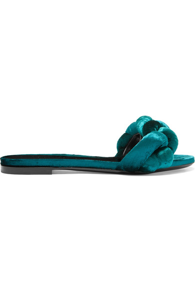Marco De Vincenzo - Braided Velvet Slides - Teal