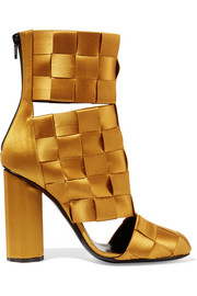 Cutout basketweave satin ankle boots
