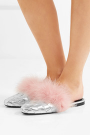 Feather-embellished woven metallic leather slippers