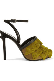 Leather-trimmed fringed satin sandals