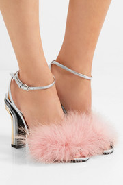 Feather-embellished satin and metallic leather sandals