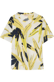 Marni Sequin-embellished printed cotton-jersey T-shirt