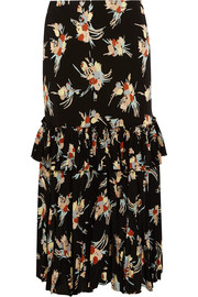Marni Ruffled printed silk-crepe midi skirt