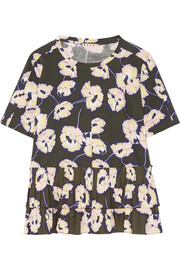 Marni Poplin-trimmed floral-print cotton-jersey top