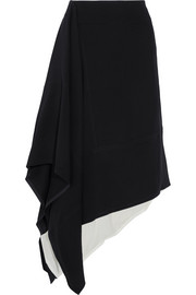 Asymmetric crepe and cotton midi skirt