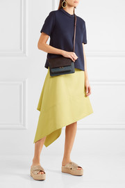 Asymmetric paneled twill skirt