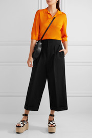 Pleated linen-blend wide-leg pants