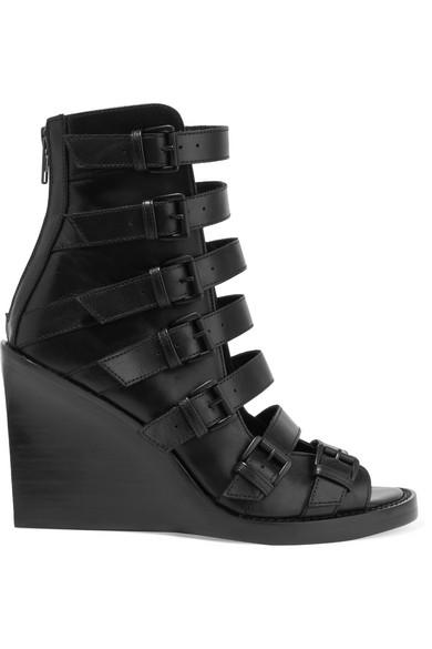 ann demeulemeester female ann demeulemeester buckled leather wedge sandals black