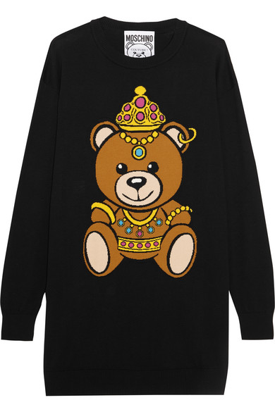 Moschino - Intarsia Cotton-jersey Mini Dress - Black