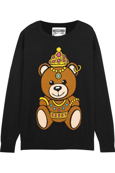 Moschino - Intarsia Cotton-jersey Sweater - Black