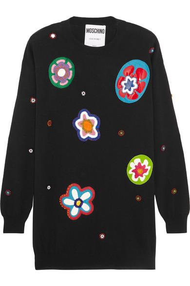 Moschino - Embellished Appliquéd Wool Mini Dress - Black