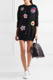 Moschino Embellished appliquéd wool mini dress