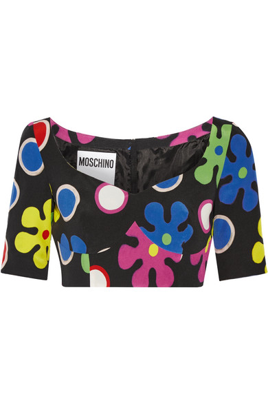 Moschino - Cropped Printed Silk Top - Black