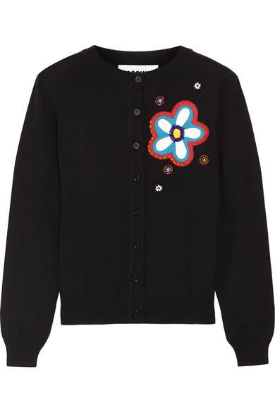 Moschino - Embellished Appliquéd Wool Cardigan - Black