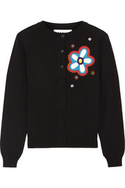 Moschino Embellished appliquéd wool cardigan