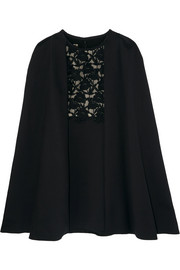 Convertible guipure lace-paneled crepe dress