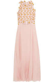 Giambattista Valli Guipure lace and pleated silk-chiffon midi dress