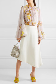 Giambattista Valli Cape-back ruffled printed silk-chiffon blouse