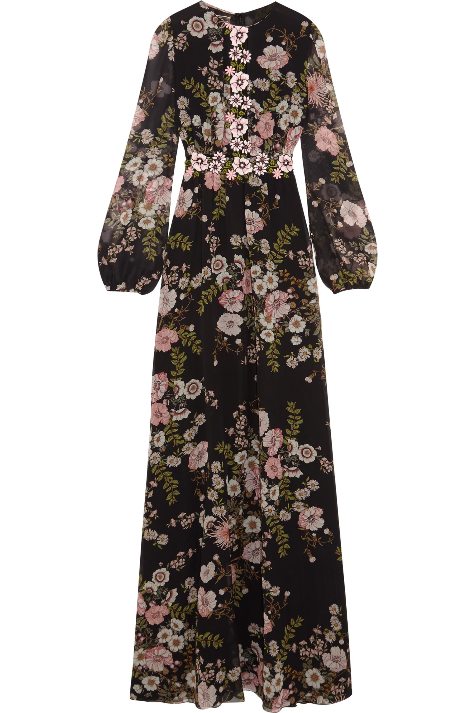 Giambattista Valli Appliquéd floral-print silk-georgette gown