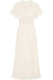 Giambattista Valli Guipure lace-paneled silk crepe de chine gown