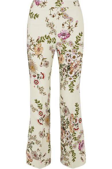 Floral-print Crepe Flared Pants - Ivory Giambattista Valli vtolw4Fp2N