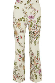 Cropped satin-trimmed printed crepe flared pants
