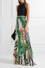 Emilio Pucci Stretch-ponte and pleated printed stretch-jersey maxi dress