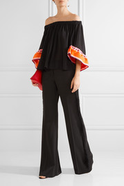 Emilio Pucci Off-the-shoulder twill-trimmed silk-georgette top