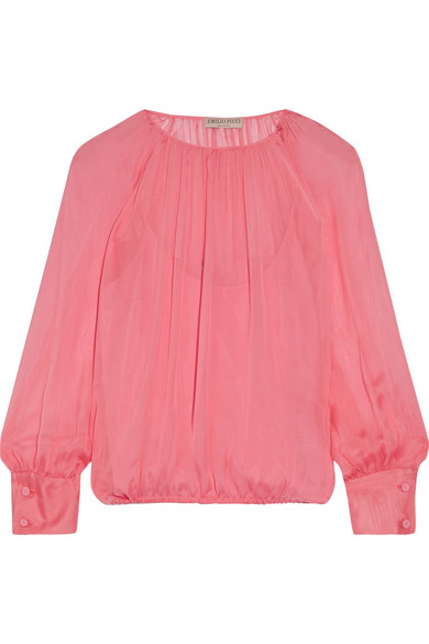 Emilio Pucci - Gathered Silk Blouse - Pink