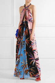 Printed silk crepe de chine halterneck maxi dress
