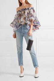 Emilio Pucci Off-the-shoulder stretch silk-trimmed printed organza top