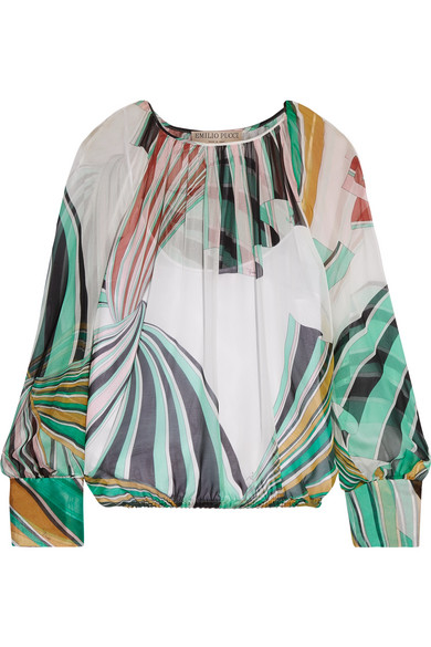Emilio Pucci - Printed Silk-chiffon Blouse - Light green