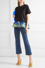 Emilio Pucci Printed silk-trimmed cotton top