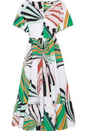 Pleated printed stretch-cotton poplin midi dress