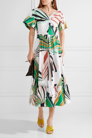 Emilio Pucci Pleated printed stretch-cotton poplin midi dress
