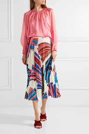 Emilio Pucci Vortex pleated printed stretch-jersey skirt