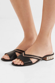Nicholas Kirkwood Casati mesh-paneled embellished leather slides